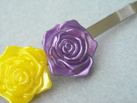Rose Hair Clip: Purple and Yellow Flowers