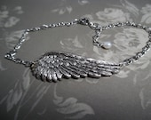 Angel Wing Anklet Your Angel Silver with Pearl Adjustable Chain