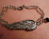 Silver anklet angel wing with onyx