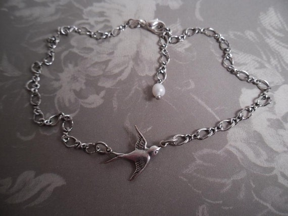 Anklet Silver   sparrow with pearl ankle bracelet antiqued silver adjustable fresh water pearl