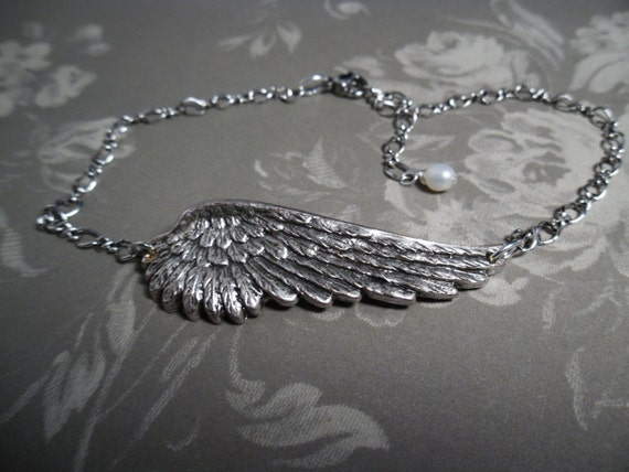 Anklet Silver ankle bracelet Angel Wing Fresh Water Pearl adjustable antiqued silver jewelry sale