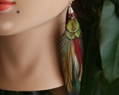 Extra Long Multi-Color Feather Earring, Indie Style