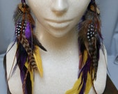 Indie Multi Colored Natural Feather Earrings