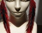 Extra Long Black and Red Tribal Feather Earrings