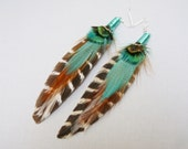 Tribal earrings with Sea Foam green, Brown, Ivory and  Stripped feathers, wire wrapped cones