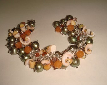 SALE 25% off original price  Pearls Aventurine Shells bracelet Santa Barbara OOAK