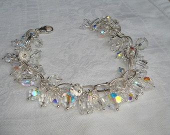 Sale 25% off original price Swarovski crystals Bracelet Sterling ICE FAIRIES  OOAK
