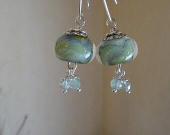 Lampwork Boro bead Earrings Swirling Ocean Waters OOAK