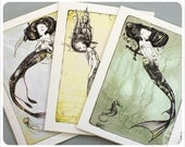 3 Mermaid Cards - Fairy Tale - Fantasy Note Cards - Art Cards - blank cards - Fairy Tale Art by the Filigree - theFiligree