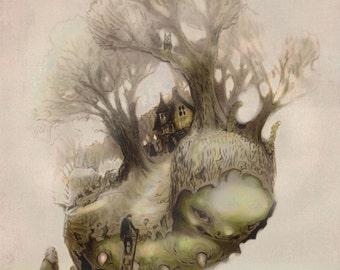 Fantasy Art Print- giclée PRINT - Fairy Tale WALL Art by the Filigree