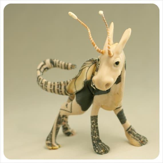 OAK Art Dragon Creature - Newspaper Print Stripe Swirl - Art Doll Fairy Tale FANTASY Figurative Sculpture