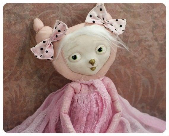 Art Doll OOAK Pink Cotton Candy -  Imaginary Friends - Fairy Tale Figurative Folk Rag Doll