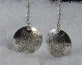 Sterling silver etched snowflake earrings with Swarovski crystals