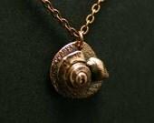 Pure copper sea shell necklace, beach jewelry, nautical motif