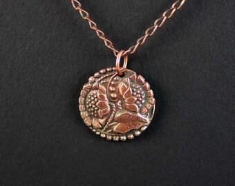 Sunflower Pendant / Copper Sun Flower Necklace / Garden Botanical Jewelry