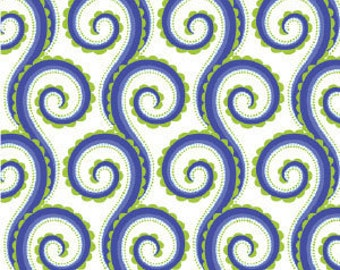 Michael Miller Curly Swirly Whimsey Fabric- Blue