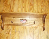24 Inch Pine Wall Shelf with Heart Insert Country Rustic