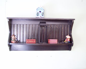 Wall Display Rack Primitive Country Shelf and Plate Rack 42""