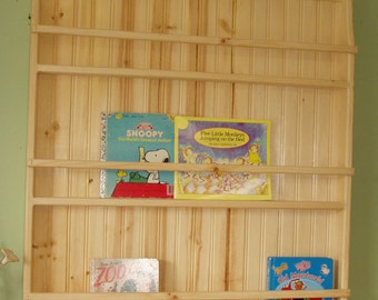 Unfinished Pine Primitive Plate Rack or Bookshelf Unit Display Rack