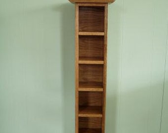 CD Tower Storage Rack Floor Standing Solid Oak Wood Storage Unit