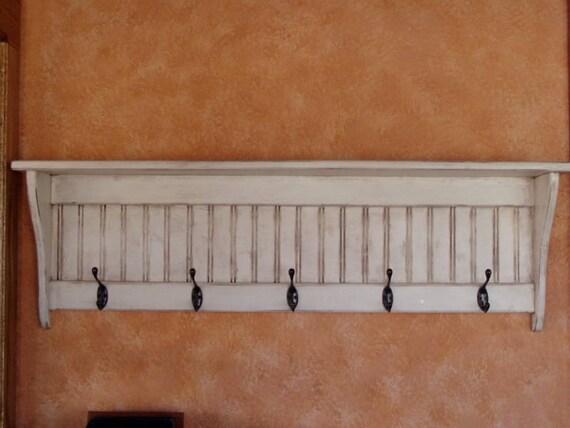 "Coat Rack Primitive Wall Shelf Wood Display Rack Antiqued 42"""