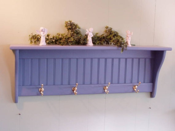 Country Blue Coat Rack Wall Shelf with Brass Hooks