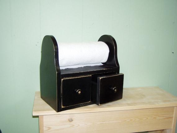 Reversible Paper Towel Rack / Recipe Cabinet Antiqued Primitive Distressed Black