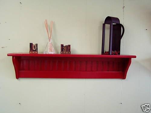 36 pine painted wood wall shelf display shelf red. Black Bedroom Furniture Sets. Home Design Ideas