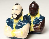 Mr T Salt and Pepper Shakers Ceramic Clay- That's Right FOOL