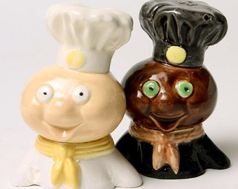 Doughboy Goes MultiGrain Ceramic Salt and Pepper Shakers