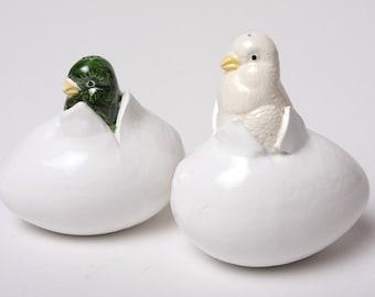 Parakeet Salt and Pepper Shakers - Ceramic and Very Tweet