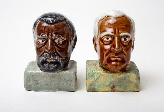 Black Roosevelt and Grant Ceramic Salt and Pepper Shakers -Ethnic Presidential Edition