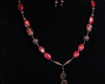 Pink Impression Jasper Necklace & Earrings