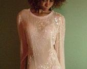 Vintage Sheer Silk Sequined Mini Dress S
