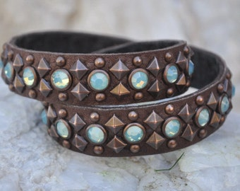 Striking Single or Double Wrapped Leather Bracelet, Pacific Opal Swarovski Crystals, Brown or Black Leather and Settings