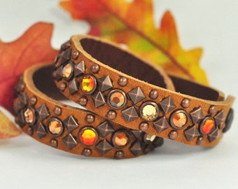 ANDROMEDA BRACELET or Choker - Autumn Leather with Fire Opal, Copper and Light Colo Topaz Crystals