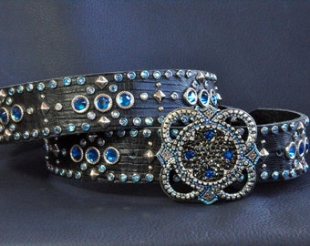 DAKOTA belt, Black Embossed leather with Capri Blue, Light Sapphire AB Crystals and a Kippy Buckle