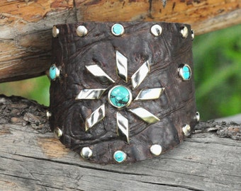 SUNFLOWER CUFF - Shaped Leather Cuff with Turquoise and Silver Sunflower
