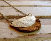 JUST ONE LEFT Haystack and Wood - Brown Leather Necklace - Brass Metalwork Necklace - Tangleweeds Artisan Jewelry