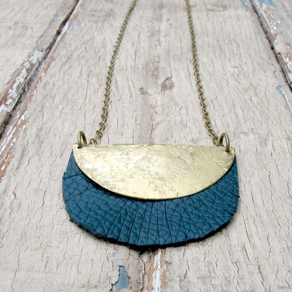 SALE Haystack and Wood - Teal Leather Necklace - Brass Metalwork Necklace - Artisan Tangleweeds Jewelry