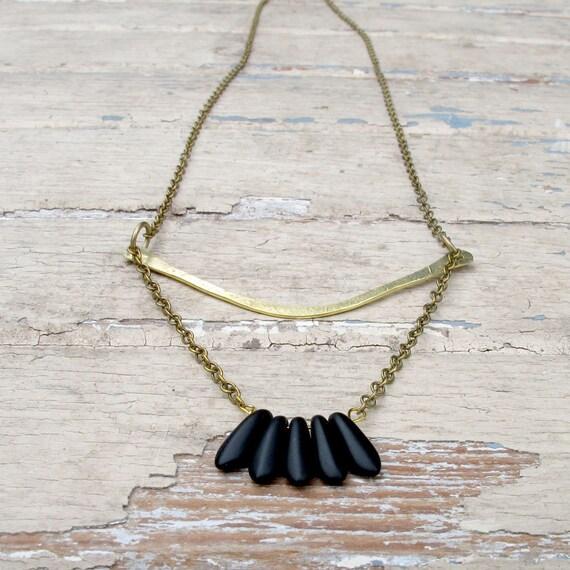 SALE Featherlight - Brass Metalwork Necklace - Black Glass Bead Necklace - Artisan Tangleweeds Jewelry