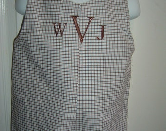 Monogrammed Shortall on Baby Blue and Chocolate Brown Fabric Size 3 Mo to 4T