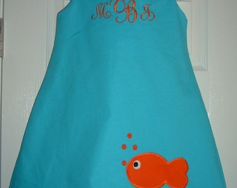 Fish Dress Size 6mo to 4T  ALSO AVAILABLE in 5 to 6 for 35