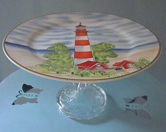 Lighthouse Dessert Pedestal / Dessert Stand / Serving Plate / Sea Inspired Plate