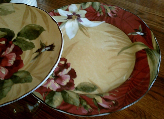 Dessert Pedestals Stands in Rich Burgundy, Gold and Green / Upcycled Pair Serving Plates / Fall Table Settings