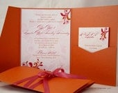 Orange and Pink Wedding Invitation - Gorgeous Swirls | Floral | Folliage