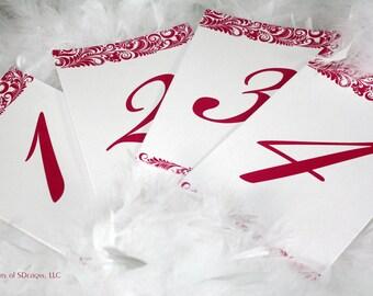 Vibrant Foliage Wedding Table Numbers - (Set of 12)