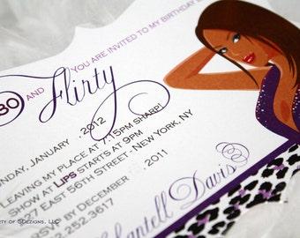 Chic Flirty 30s Birthday Invitation
