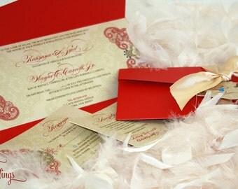 Indian Wedding Invitation / Henna Pattern Invitation / Hindu Wedding Invitation / Red and Gold Invitation / Gorgeous / Unique / Elegant