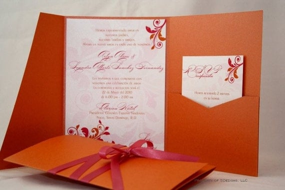 Gorgeous Wedding Invitations: Orange And Pink Wedding Invitation Gorgeous Swirls Floral